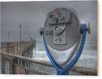 Oceanside Pier California Binocular Vision Wood Print by Bob Christopher