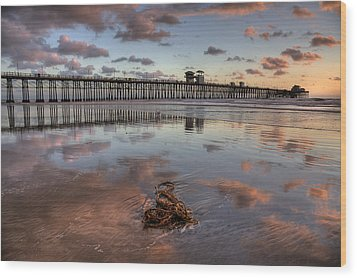 Oceanside Pier Seaweed Wood Print by Peter Tellone