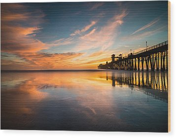 Oceanside Reflections 3 Wood Print by Larry Marshall