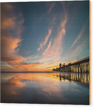 Oceanside Reflections 3 Square Wood Print by Larry Marshall