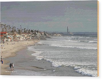 Wood Print featuring the photograph Oceanside South Of Pier by Tom Janca