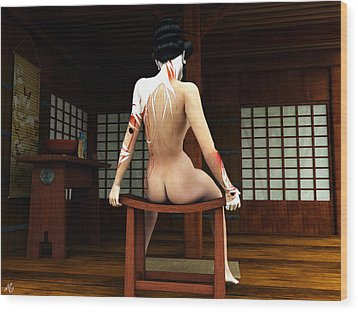 Wood Print featuring the painting Ochaya Geisha by Maynard Ellis