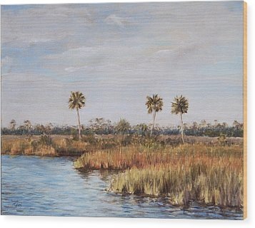 Wood Print featuring the painting Ochlockonee River Palms by Pam Talley