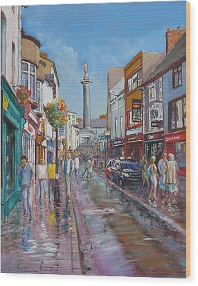 O'connell Street Ennis Co Clare Wood Print by Tomas OMaoldomhnaigh