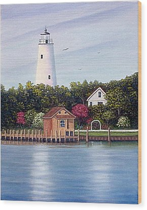 Wood Print featuring the painting Ocracoke Island Light by Fran Brooks