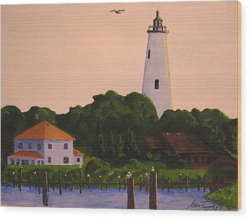 Ocracoke Lighthouse Wood Print by Stan Tenney