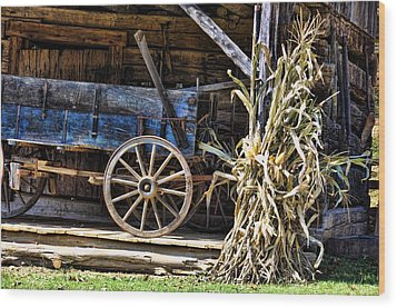 October Barn Wood Print by Jan Amiss Photography