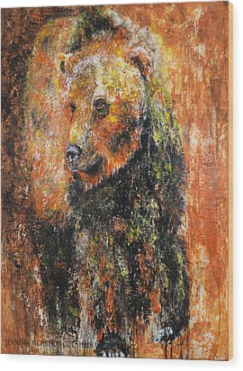 Abstract Bear Painting October Bear Wood Print by Jennifer Godshalk