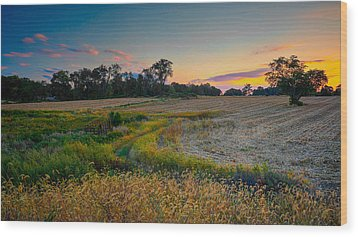 October Evening On The Farm Wood Print