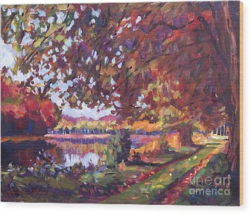 October Mirror Lake Wood Print by David Lloyd Glover