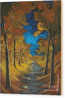 Wood Print featuring the painting October Stroll by Steven Lebron Langston
