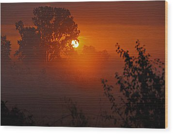 October Sunrise Wood Print by Judy  Johnson