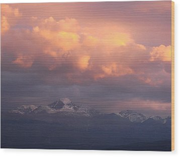 October Sunset Over Longs Peak Wood Print by Margaret Bobb
