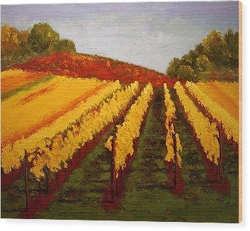 Wood Print featuring the painting October Vineyard by Nancy Jolley