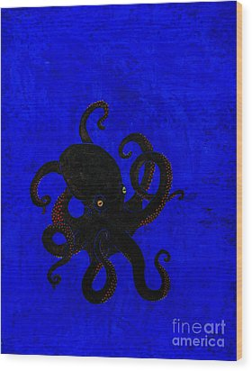Octopus Black And Blue Wood Print by Stefanie Forck