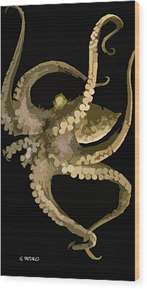 Octopus In Flight Wood Print by George Pedro