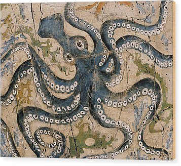 Octopus - Study No. 2 Wood Print by Steve Bogdanoff