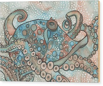 Wood Print featuring the painting Octopus by Tamara Phillips