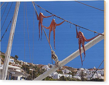Octopus Trio Hanging In Mykonos Greece Wood Print