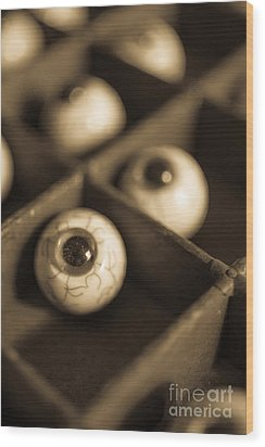 Oddities Fake Eyeballs Wood Print by Edward Fielding