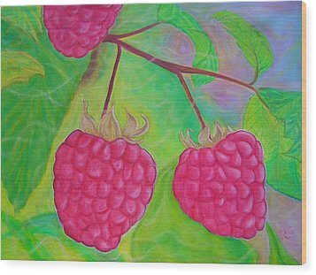 Ode To A Raspberry Wood Print by Rachel Cruse