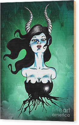 Ode To Maleficent Wood Print by Christopher Moonlight