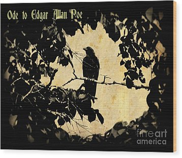 Ode To Poe Wood Print by John Malone