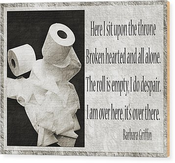 Ode To The Spare Roll Bw 2 Wood Print by Andee Design