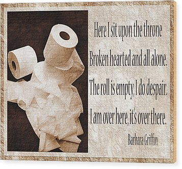 Ode To The Spare Roll Sepia 2 Wood Print by Andee Design