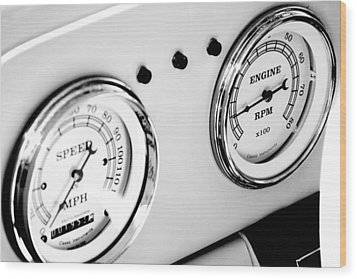 Odometer And Tachometer Of An Antique Car Wood Print