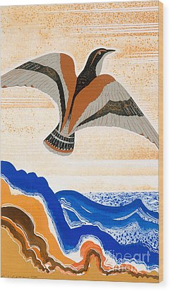 Odyssey Illustration  Bird Of Potent Wood Print by Francois-Louis Schmied