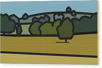 Oe'r Golden Field Wood Print by Kenneth North