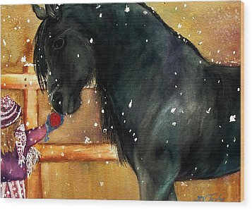 Of Girls And Horses Sold Wood Print by Lil Taylor