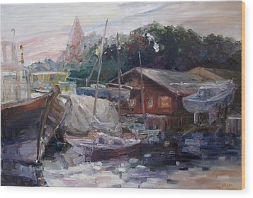 Off Hours At The Ship Yard In Kirchdorf Island Poel Wood Print by Barbara Pommerenke