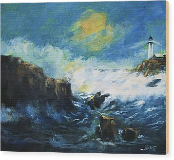 Wood Print featuring the painting Off Shore Breakers At Dusk by Al Brown