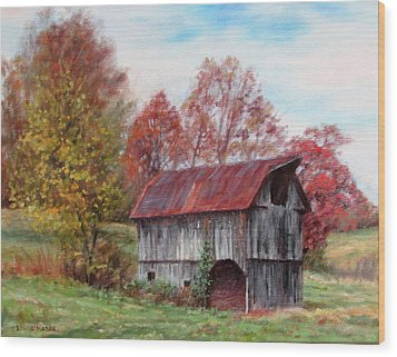 Off The Beaten Track-old Barn With Red Roof Wood Print