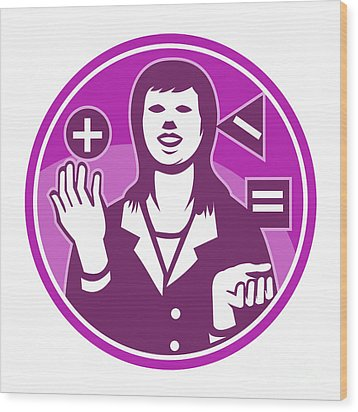 Office Worker Businesswoman Juggling Woodcut Wood Print by Aloysius Patrimonio