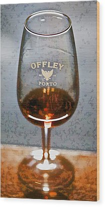 Offley Port Wine Glass Wood Print by David Letts