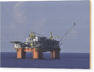 Wood Print featuring the photograph Offshore Production Platform by Bradford Martin