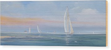 Offshore Sailing Wood Print by Jim Christley
