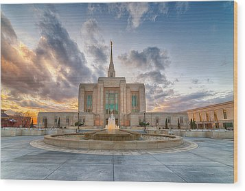 Ogden Temple Fountain Wood Print
