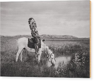 Oglala Indian Man Circa 1905 Wood Print by Aged Pixel