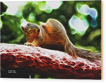 Oh Buggers I Itch - Fractal - Robbie The Squirrel Wood Print by James Ahn