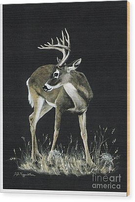 Wood Print featuring the painting Oh Deer.....listen by DiDi Higginbotham