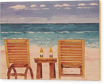 Two Corona's And A Beach Wood Print