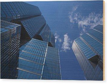 Oh So Blue - Downtown Toronto Skyscrapers Wood Print by Georgia Mizuleva