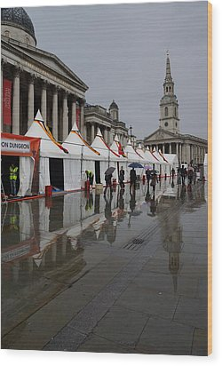 Oh So London - Rain Puddles And Reflections Wood Print by Georgia Mizuleva