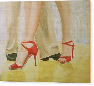 Wood Print featuring the painting Oh Those Red Shoes by Keith Thue