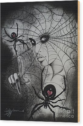 Oh What Tangled Webs We Weave Wood Print by Carla Carson