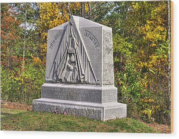 Ohio At Gettysburg - 29th Ohio Volunteer Infantry Autumn Mid-afternoon Culp's Hill Wood Print by Michael Mazaika